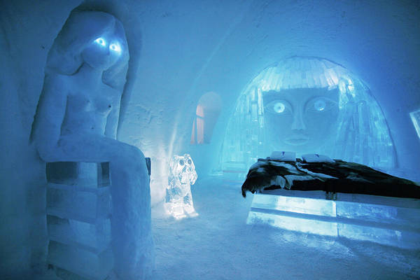 Ice Carving Photograph - Carvings In Ice Hotel, Jukkasjarvi by Johnathan Ampersand Esper