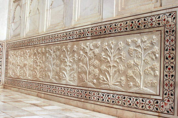 Ancient Photograph - Carvings On The Marble Wall, Taj Mahal by Visage