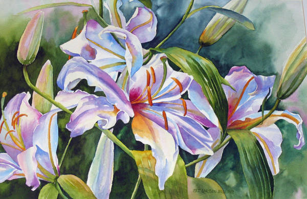 Wall Art - Painting - Casa Blanca Lilies by Pat Yager