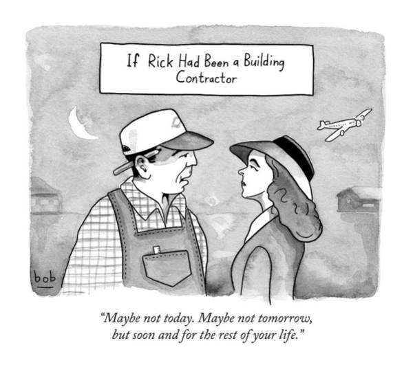 November 30th Drawing - Casablanca Parody.  If Rick Was A Building by Bob Eckstein