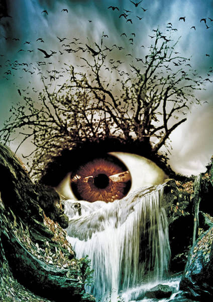 Weird Digital Art - Cascade Crying Eye by Marian Voicu