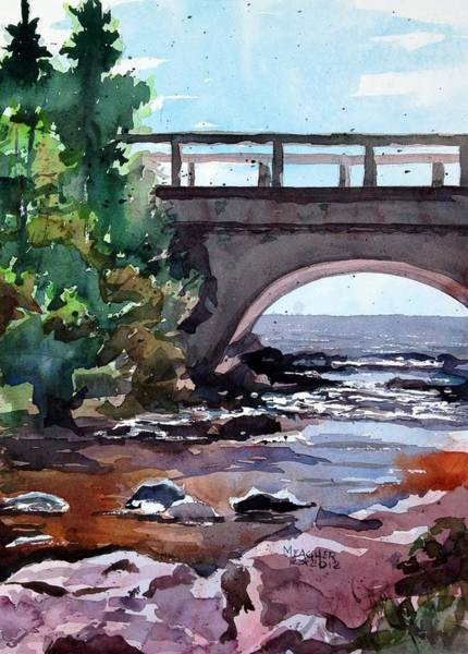 Lake Superior Painting - Cascade River Bridge by Spencer Meagher