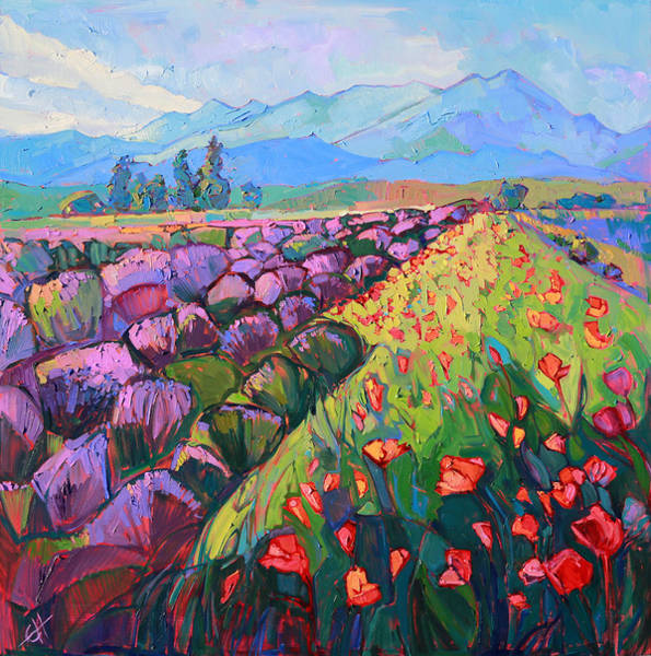 Wall Art - Painting - Cascading Lavender by Erin Hanson