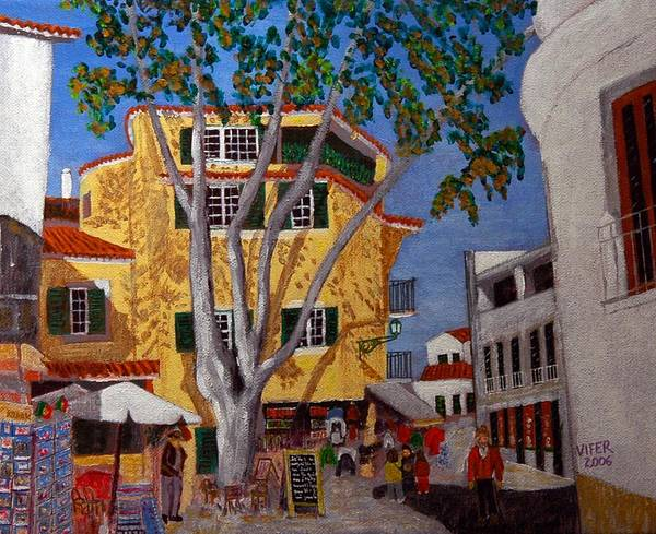 Wall Art - Painting - Cascais Centre by Vitor Fernandes VIFER