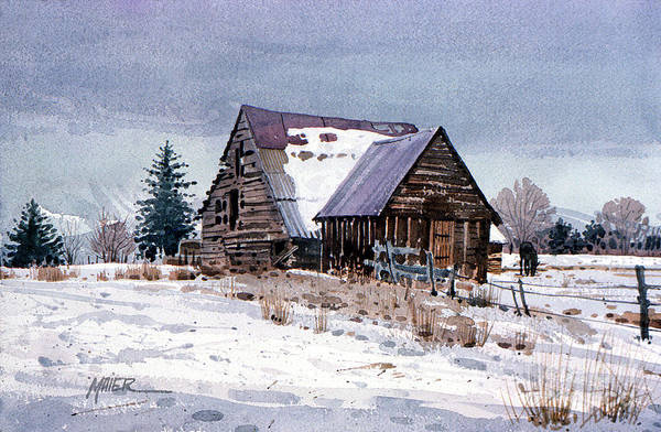 Barn Snow Painting - Cache Valley Barn by Donald Maier