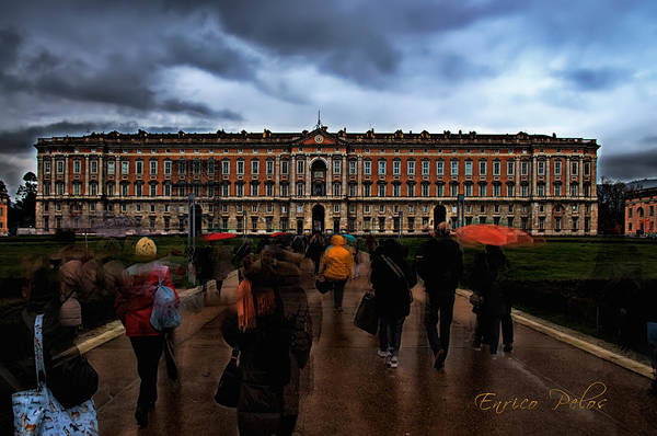 Photograph - Caserta Royal Palace Facade With Running Visitors Under The Rain by Enrico Pelos