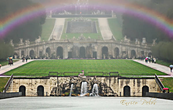 Photograph - Caserta Royal Palace Garden And Fountains Under The Rain by Enrico Pelos