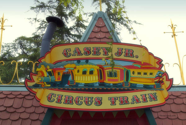 Wall Art - Photograph - Casey Jr Circus Train Fantasyland Signage Disneyland by Thomas Woolworth