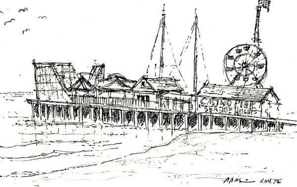 Drawing - Casino Pier In Seaside Heights Nj by Jason Nicholas