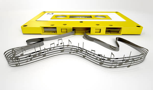 Compose Wall Art - Digital Art - Cassette Tape And Musical Notes Concept by Allan Swart