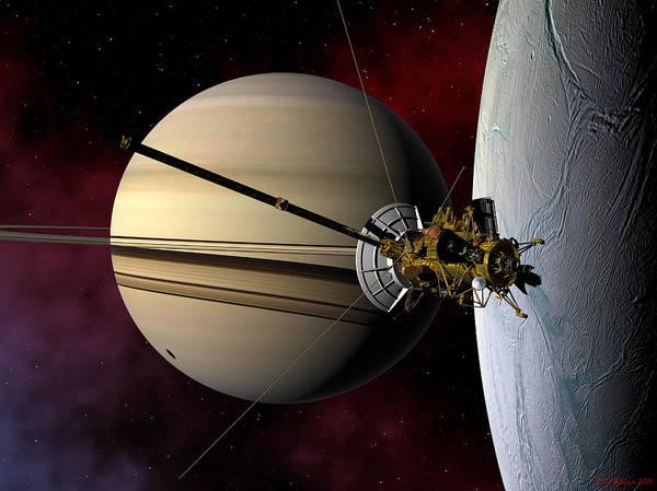 Digital Art - Cassini Probe Passing Enceladus by David Robinson