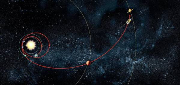Flyby Photograph - Cassini Spacecraft Orbital Route by Claus Lunau/science Photo Library