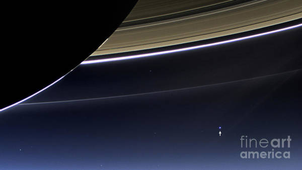 Wall Art - Photograph - Cassini View Of Saturn And Earth by Science Source