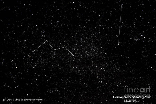 Photograph - Cassiopeia And Shooting Star by Barbara Bowen