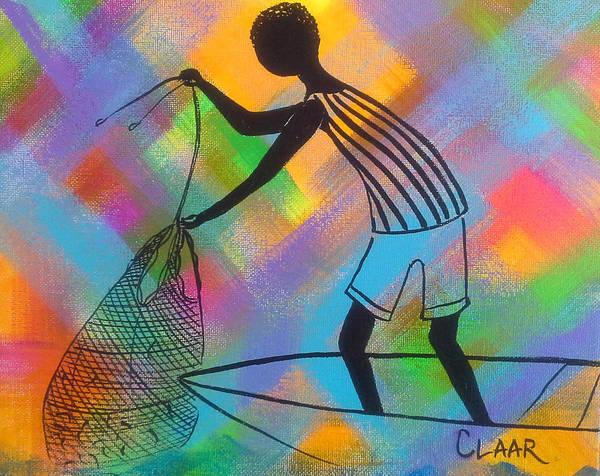Gullah People Wall Art - Painting - Cast Net Bounty by Samantha Claar