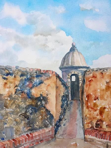 Painting - Castillo De San Cristobal Sentry Door by Carlin Blahnik CarlinArtWatercolor