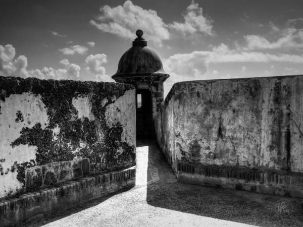 Sentry Box Photograph - Castillo San Felipe Del Morro 005 Bw by Lance Vaughn