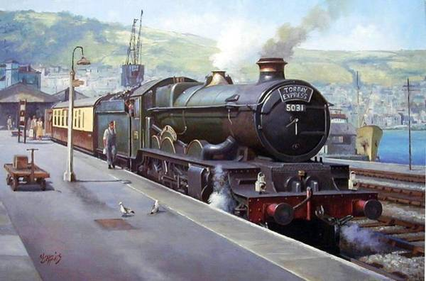Vintage Train Painting - Castle At Kingswear 1957 by Mike Jeffries