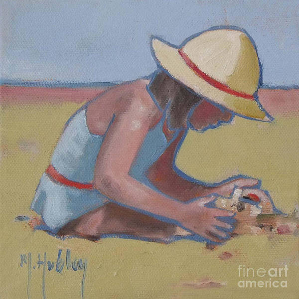 Sand Castle Painting - Castle Builder Beach Sand Castle by Mary Hubley