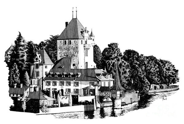 Castle Drawing - Castle By The River by Drawspots Illustrations