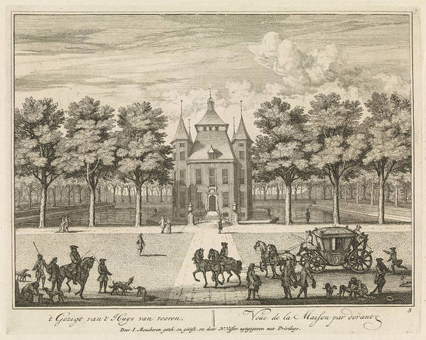 Hiking Drawing - Castle Heemstede, Square And Stables, Sight From Starrenbos by Isaac De Moucheron