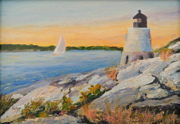 Newport Ri Wall Art - Painting - Castle Hill Light House Newport Ri by Patty Kay Hall
