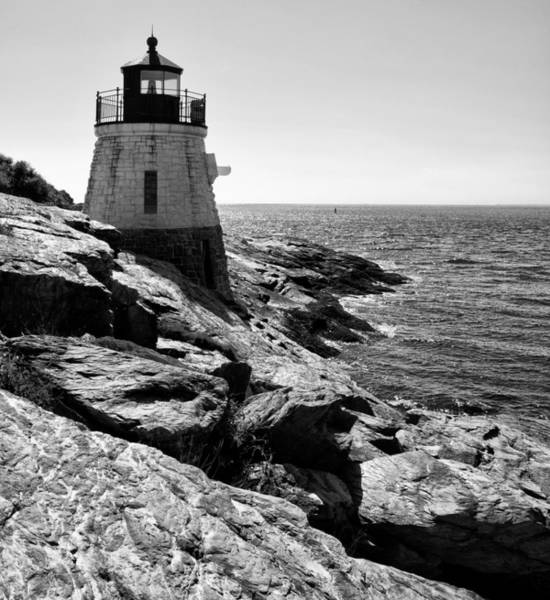 Photograph - Castle Hill Lighthouse - Newport Ri - Black And White by Bill Cannon