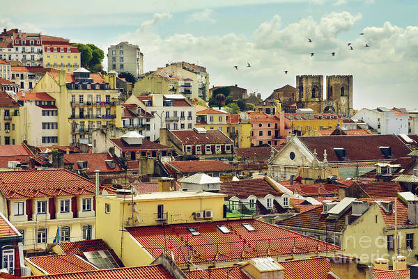 Lisbon Castle Photograph - Castle Hill Neighborhood by Carlos Caetano