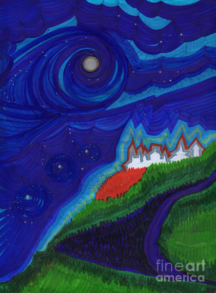 Jrr Drawing - Castle On The Cliff By Jrr by First Star Art