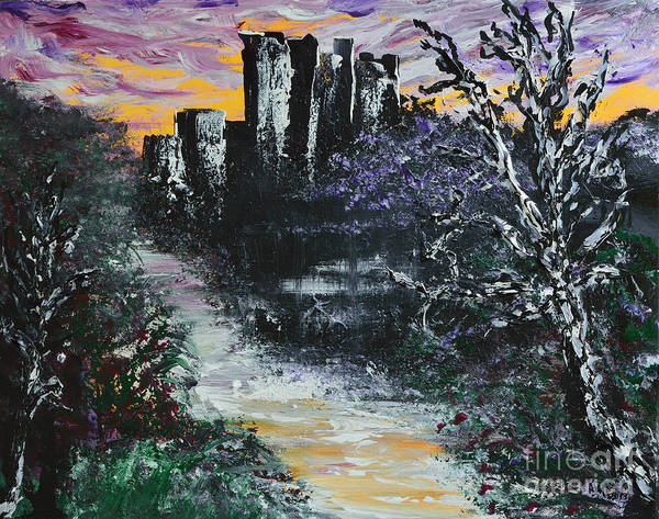 Donegal Painting - Castle Ruins At Dawn by Alys Caviness-Gober