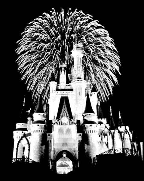 Disney World Photograph - Castle Show Black And White by Benjamin Yeager