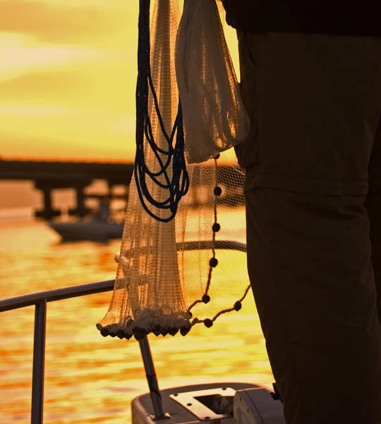 Photograph - Castnetting From A Boat At Sunset In South Florida by Ginger Wakem