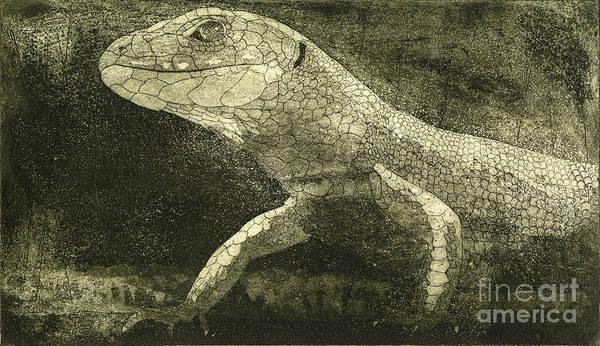 Painting - casual meeting Reptile Viviparous Lizard  Lacerta vivipara by Urft Valley Art