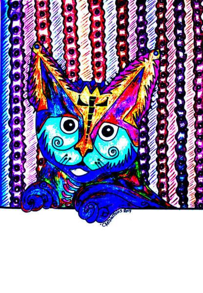 Carnivorous Drawing - Cat 1 by Carol Tsiatsios