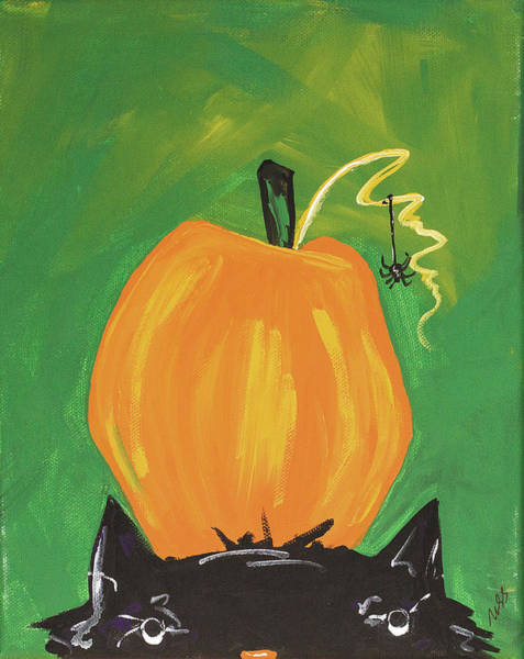 Wall Art - Painting - Cat And Pumpkin by Molly Susan Strong