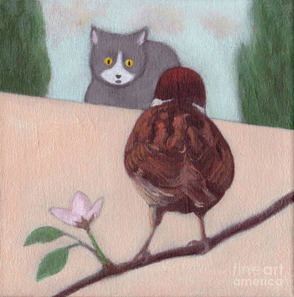 Cat And Sparrow  Art Print