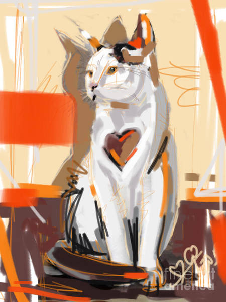 Painting - Cat Big Heart  by Go Van Kampen