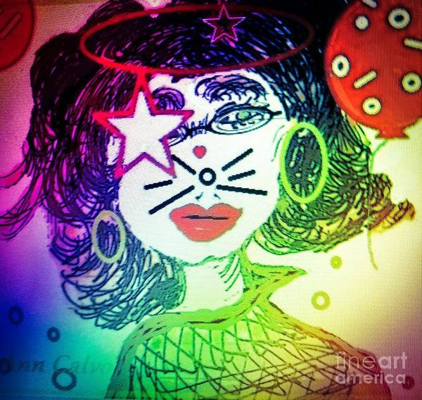 Mixed Media - Cat Birthday by Ann Calvo
