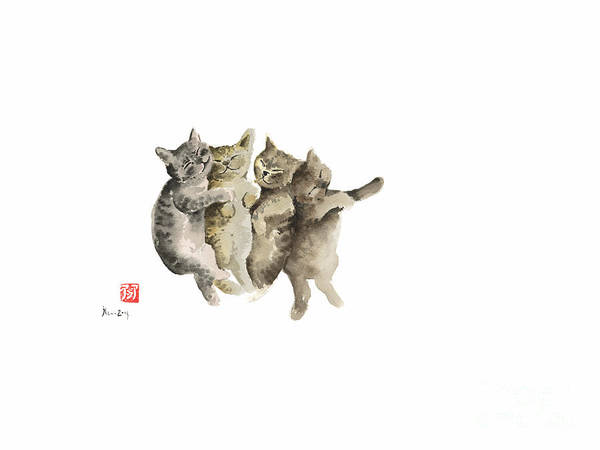 Gift Shops Painting - Cat Cats Photo Picture Brown Gray Little Funny Pic Meow Watercolor Painting by Johana Szmerdt