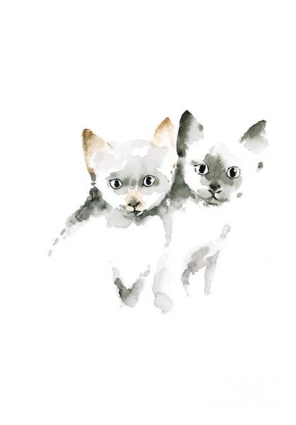 Gift Shops Painting - Cat Cats Photo Picture Brown Gray Little Funny Twins Pic Meow Watercolor Painting by Johana Szmerdt