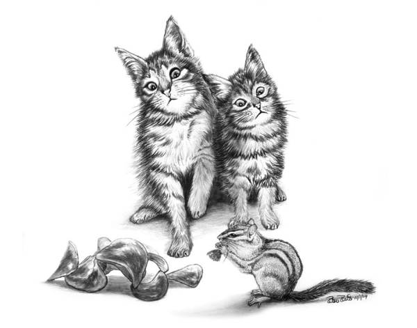 Wall Art - Drawing - Cat Chips  by Peter Piatt