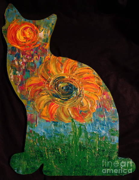Painting - Cat Cut-out With Flower by Jacqueline Athmann