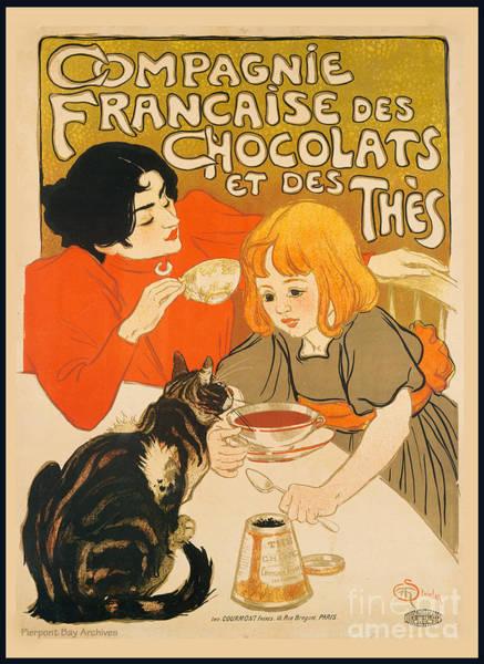 Francaise Digital Art - Cat Enjoys Chocolates And Tea by Pierpont Bay Archives