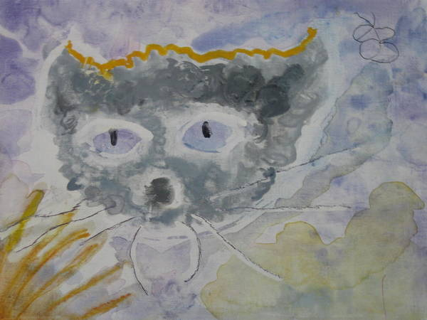 Painting - Cat Face As A Cloud by AJ Brown