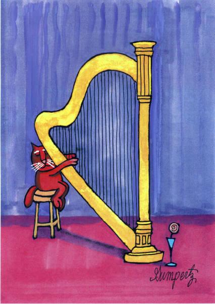 Harp Mixed Media - Cat/harp by Robert Gumpertz