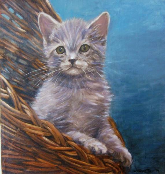 Painting - Cat In Basket by Jeannette Tramontano