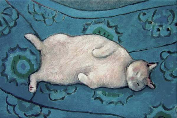 Painting - Cat On Blue Chair by Kazumi Whitemoon