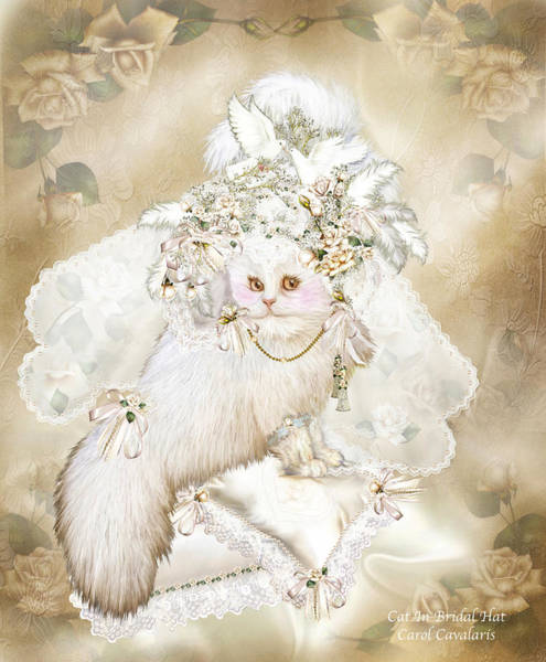 White Cat Mixed Media - Cat In Fancy Bridal Hat by Carol Cavalaris