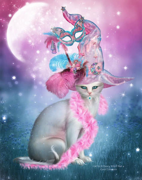 White Cat Mixed Media - Cat In Fancy Witch Hat 4 by Carol Cavalaris
