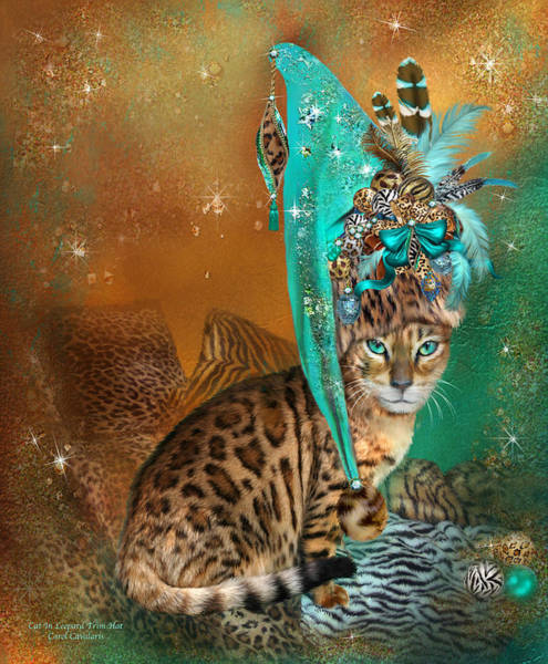 Mixed Media - Cat In Leopard Trim Hat by Carol Cavalaris